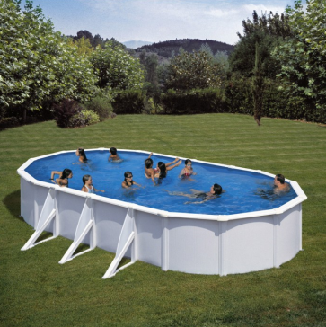 Piscina desmontable gre fidji ovalada acero blanco 120 cm altura piscinas desmontables gre - Piscina desmontable acero ...
