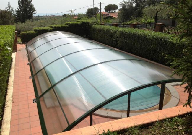 Cubierta piscina baja lanzarote cubiertas policarbonato for Cubierta piscina desmontable