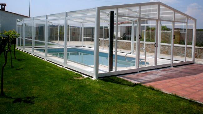 Cubierta policarbonato piscina alta columbrete cubiertas for Cubierta piscina desmontable