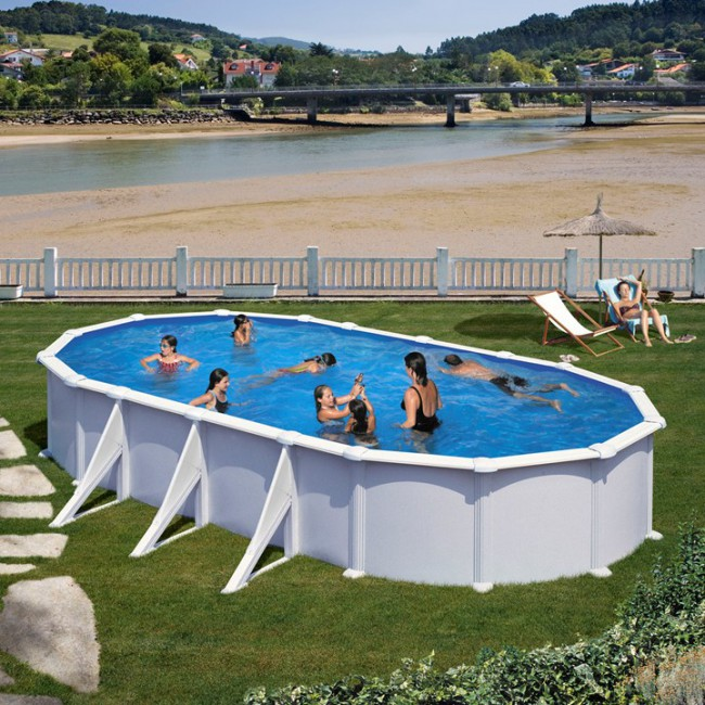Piscina desmontable gre atlantis ovalada chapa acero for Piscinas desmontables