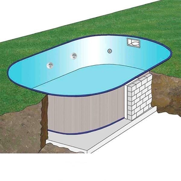 Piscina gre sumatra ovalada de acero para enterrar 120 cm for Precios de piscinas para enterrar