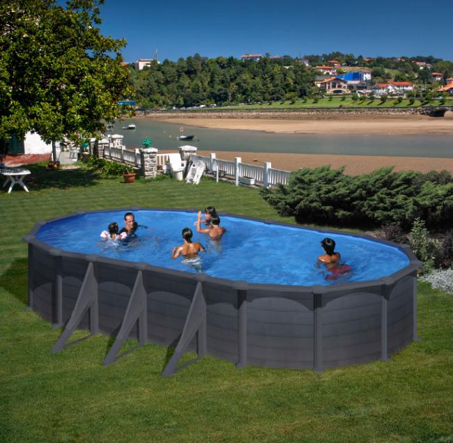 piscina desmontable gre granada grafito ovalada 132 cm altura