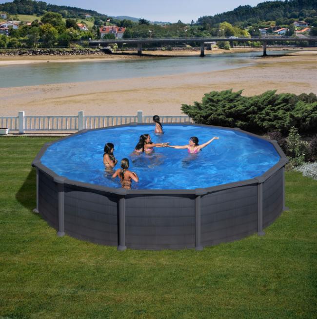 Piscina gre granada redonda grafito 132 cm altura piscinas desmontables gre piscinas spas - Piscina arabial granada precios ...