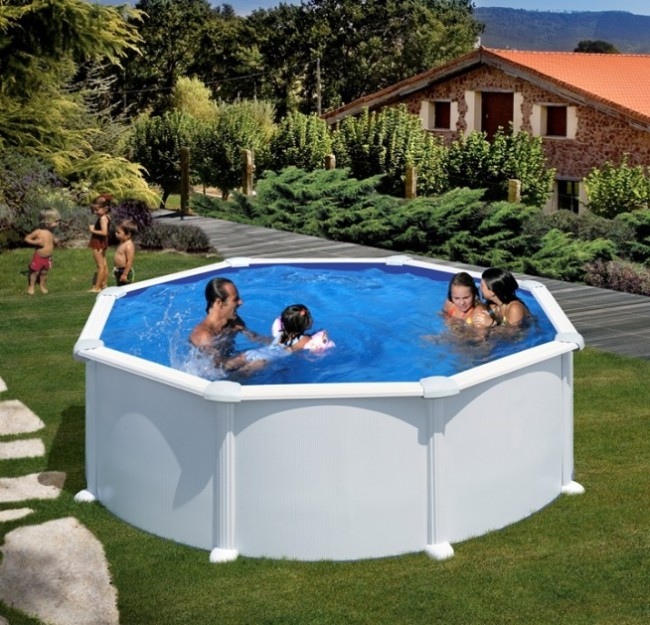 Piscina desmontable gre atlantis redonda chapa acero for Piscina redonda desmontable
