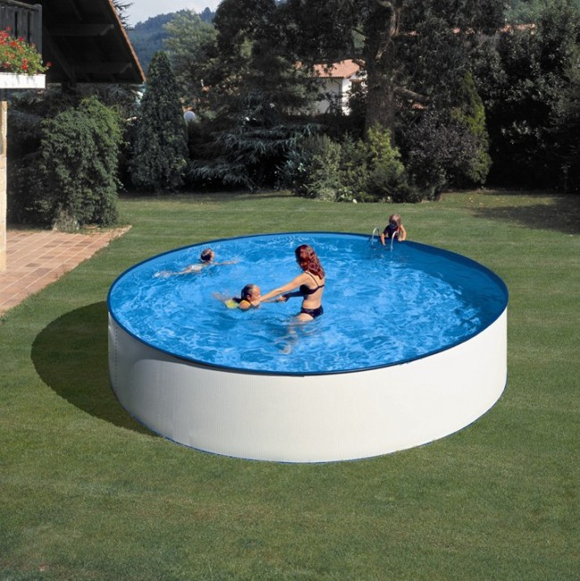 Piscina acero redonda 90 cm altura gre piscinas desmontables gre piscinas spas saunas - Piscina redonda fibra ...