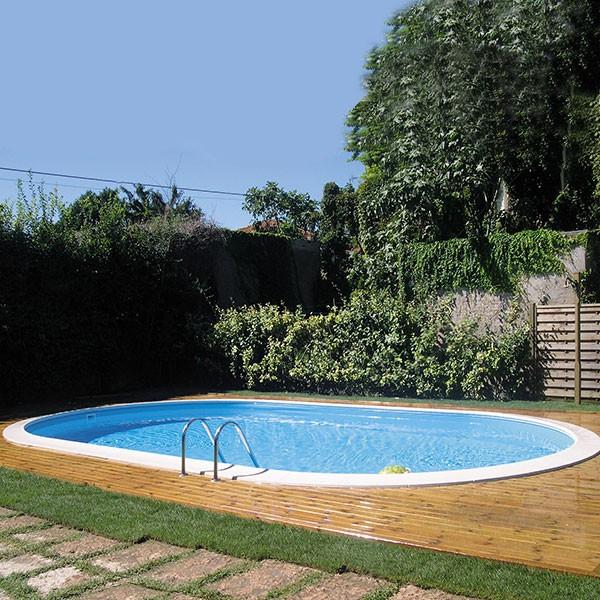 Piscina gre madagascar ovalada de acero para enterrar 150 for Gres para piscinas