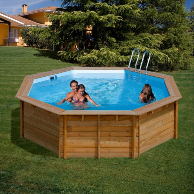 Piscina gre sunbay de madera redonda piscinas for Piscinas redondas desmontables