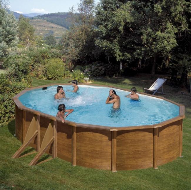 Piscina desmontable gre pacific imitaci n madera ovalada for Ofertas piscinas desmontables acero
