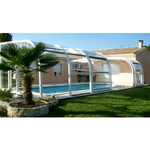 Cubierta piscina telescópica adosada alta Ibiza