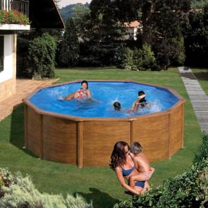 Piscina desmontable oferta Gre Pacific imitación madera redonda 120 cm altura