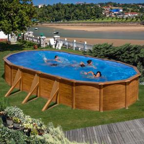Piscina Gre Pacific imitación madera ovalada 120 cm altura